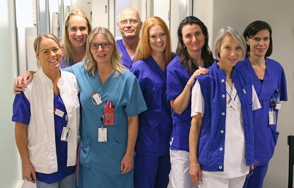 Från vänster: Jennie Zetréus, distriktssköterska, Anna Forsman, samordnande distriktssköterska, Pernilla Brodén, undersköterska, Christer Rosenberg, vårdcentralschef, Ewa-Marie Vörno Lund, sjuksköterska, Lotta Simonson, sjuksköterska, Elisabeth Söderberg, distriktssköterska, Anna Maria Johansson, undersköterska. I hembesöksenheten ingår också Jenny Wretborn, specialist i geriatrik, och Gustaf Görtz, specialist i allmänmedicin och geriatrik.